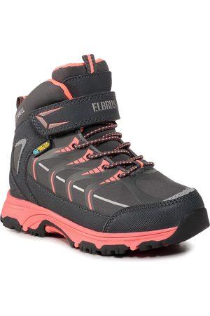 ELBRUS Fille Chaussures - Chaussures de trekking - Savas Mid Wp Jr Dark Grey/Coral/Silver