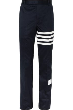 Thom Browne Homme Chinos - Slim-Fit Tapered Striped Cotton-Twill Chinos