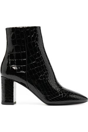 Saint Laurent Crocodile-embossed Jane boots