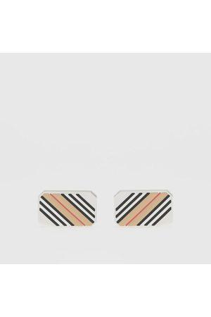Burberry Homme Bracelets - Boutons de manchette plaqués palladium à rayures iconiques, Silver