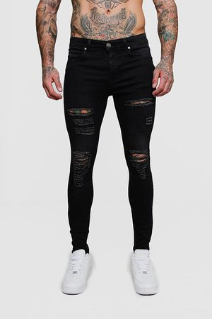 Boohoo Super Skinny Jean With All Over Rips Homme