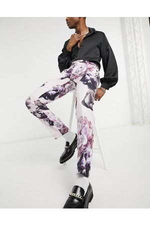 Twisted Tailor Pantalon de costume slim en lin à fleurs