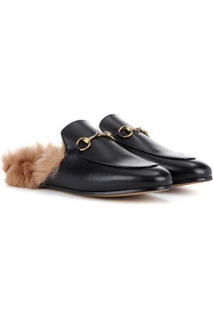Gucci Mules en cuir doublées de fourrure Princetown