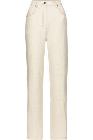 Nanushka Pantalon droit Drew à taille haute en laine
