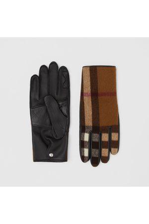 Burberry Gants - Gants en laine check et cuir d'agneau doublés de cachemire, Size: 7.5, Brown
