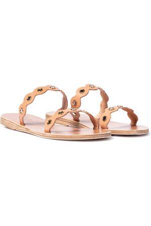 Ancient Greek Sandals Mules Melia Mirrors en cuir