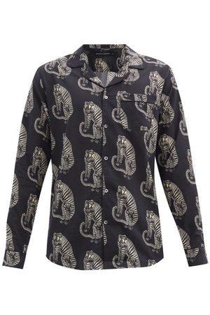 Desmond & Dempsey Homme Casual - Chemise de pyjama en coton imprimé tigres Sansido