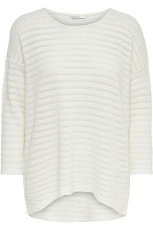 Only Long Detailed Knitted Pullover Women White