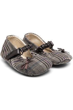 PèPè Checked bow-embellished ballerina shoes