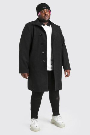 Boohoo Homme Manteaux longs - Pardessus look laine à col cheminée Big And Tall Homme