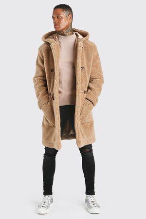 Boohoo Duffle coat à capuche effet mouton Homme
