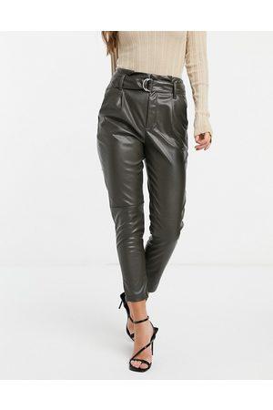 JDY Pantalon fuselé imitation cuir à ceinture