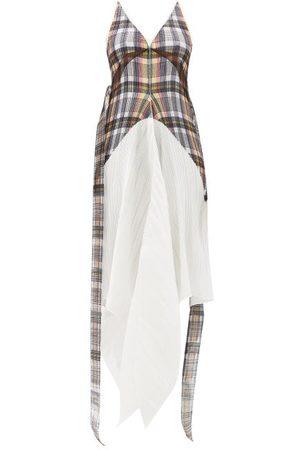 Burberry Robe plissée à motif check à ourlet en pointe