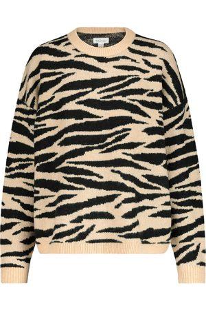 Velvet Pull Amal intarsia en laine mélangée à motif tigré