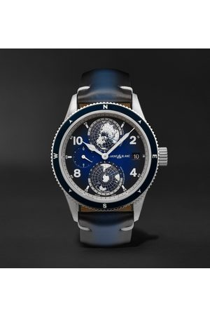 Mont Blanc Homme Montres - 1858 Geosphere Automatic 42mm Titanium, Ceramic and Leather Watch, Ref. No. 125565