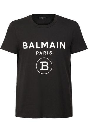 Balmain T-shirt En Jersey De Coton Imprimé Logo