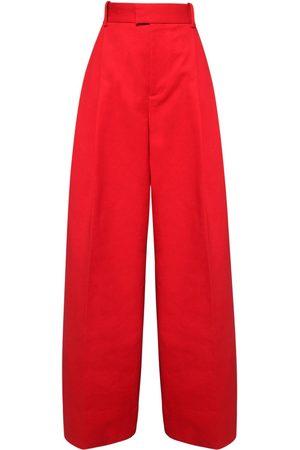 Bottega Veneta Pantalon Ample En Coton Doublé Taille Haute