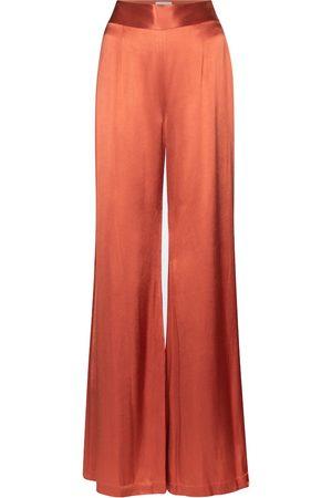 GALVAN Pantalon ample Lido à taille haute en satin