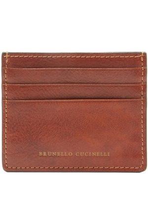 Brunello Cucinelli Porte-cartes en cuir à logo estampé