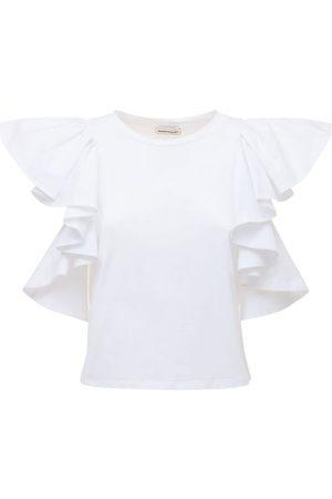 Alexander McQueen T-shirt En Jersey De Coton Avec Manches À Volants