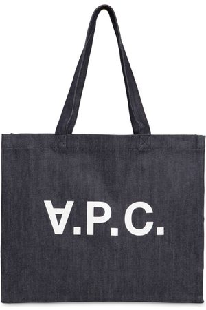 A.P.C. Tote Bag Moyen En Denim De Coton Imprimé Logo