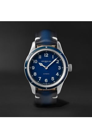 Mont Blanc 1858 Automatic 40mm Stainless Steel and Leather Watch, Ref. No. 126758