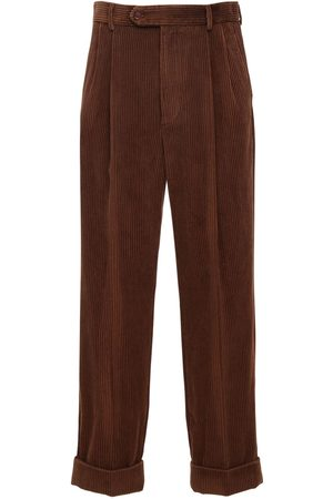 Gucci Pantalon En Velours Côtelé Détail Patch En Cuir