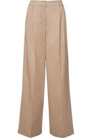 Agnona Pantalon En Coton Stretch Taille Haute