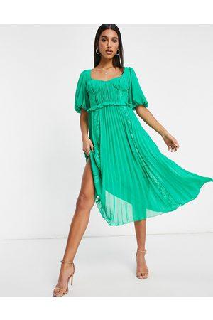 ASOS Femme Robes de soirée - Robe midi plissée à manches bouffantes et empiècements en dentelle