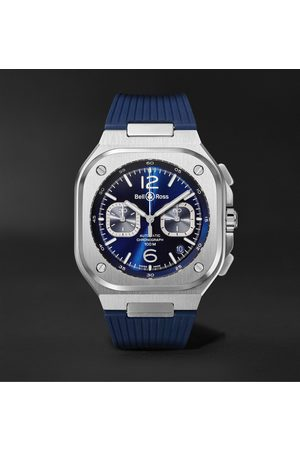 Bell & Ross Homme Montres - BR 05 Automatic Chronograph 40mm Stainless Steel and Rubber Watch, Ref.No. BR05C-BUBU-ST/SRB