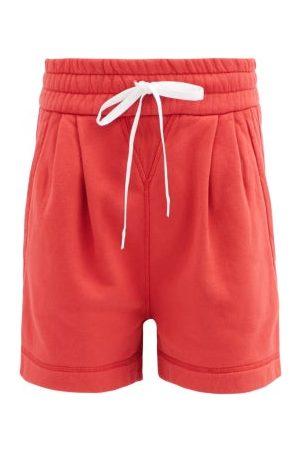 Miu Miu Femme Shorts - Short en jersey de coton à cordon et logo