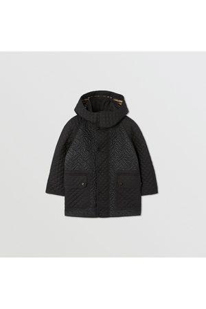 Burberry Manteau matelassé Monogram avec capuche amovible, Size: 10Y, Black