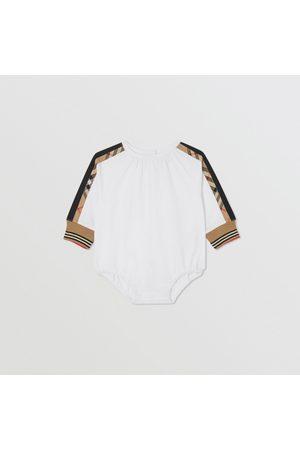 Burberry Body en coton avec Vintage check, Size: 12M, White