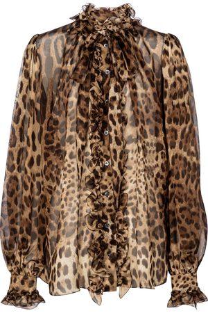 Dolce & Gabbana Blouse en soie à motif léopard