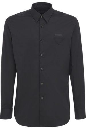 Prada Homme Business - Chemise En Popeline De Coton Avec Logo