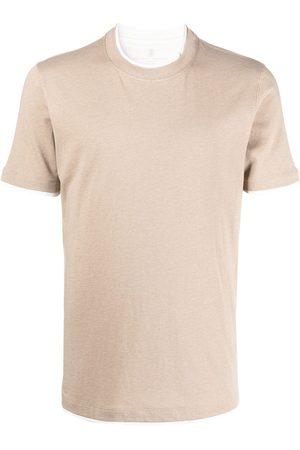 Brunello Cucinelli T-shirt à bords contrastants