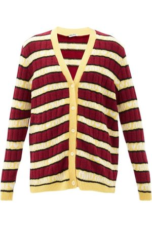 Miu Miu Cardigan rayé en laine à jacquard logo
