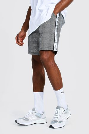 Boohoo Official Man Tape Jacquard Mid Jersey Shorts Homme