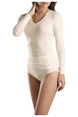 Hanro Tee-shirt intérieur manches longues col V