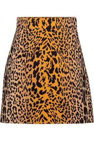 Miu Miu Mini-jupe en laine et mohair à motif léopard