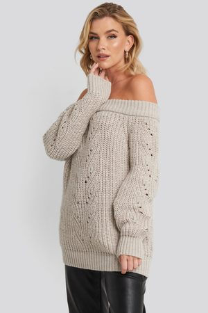 NA-KD Off Shoulder Pointelle Knitted Sweater