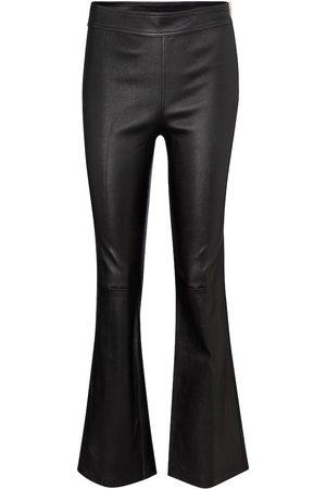 Helmut Lang Pantalon évasé à taille haute en cuir