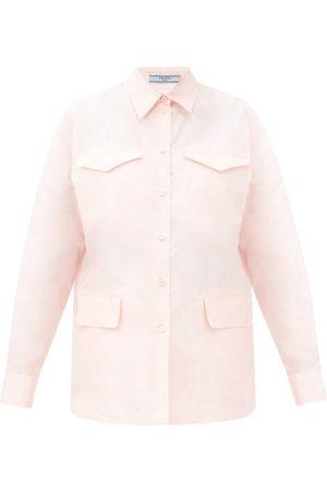 Prada Femme Chemisiers - Chemise en taffetas de soie à poches à rabat