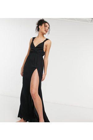 ASOS Femme Robes longues - ASOS DESIGN Tall - Robe de plage longue en tissu recyclé à bretelles nouées