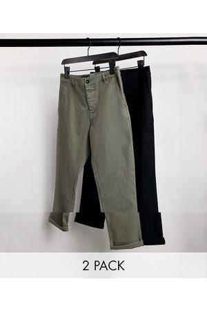 ASOS Lot de 2 pantalons chino slim - Kaki et noir