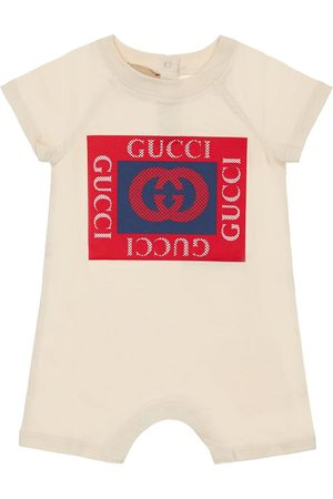 Gucci Barboteuse En Jersey De Coton Imprimé Logo