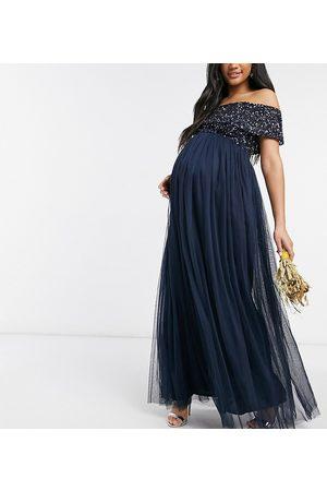 Maya Robe longue de demoiselle d'honneur en tulle à épaules dénudées et sequins ton sur ton