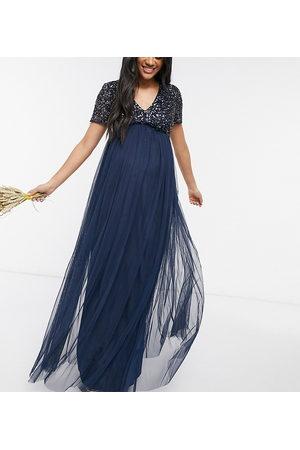 Maya Robe longue de demoiselle d'honneur en tulle à col V et sequins ton sur ton