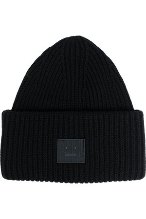 Acne Studios Bonnets - Face patch ribbed beanie