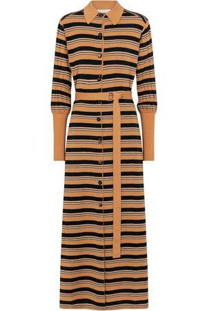 Chloé Robe chemise rayée en laine mélangée